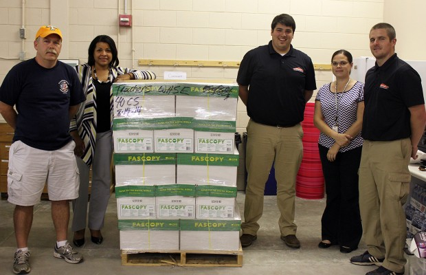 Organizations donate paper to Teacher Warehouse