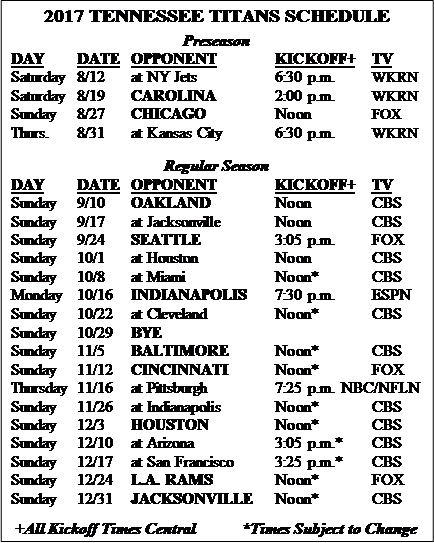 tennessee titans 2017 game schedule